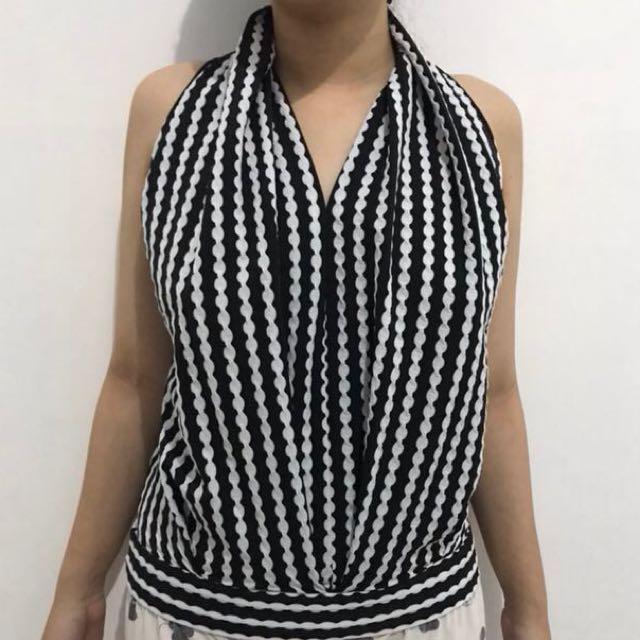 White black putih hitam top
