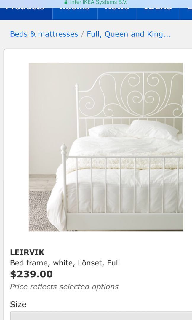 White steel frame double bed with base and mattress