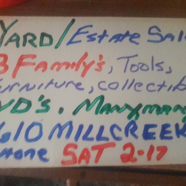 Yard/Estate sale 2610 mill creek rd, mentone, sat 2-17-18 7-?