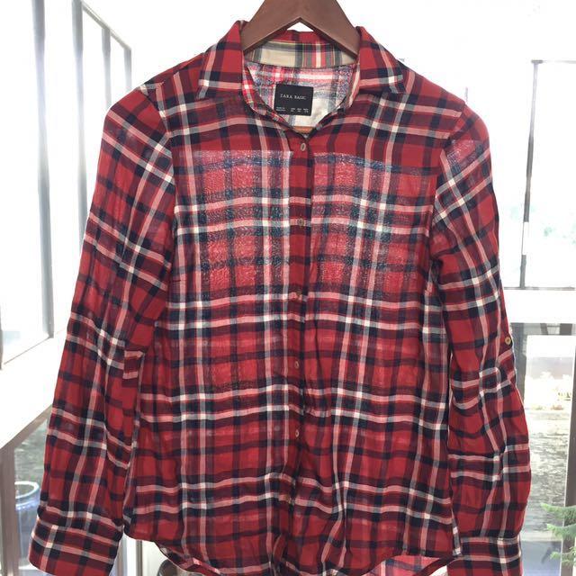 Zara red plaid shirt