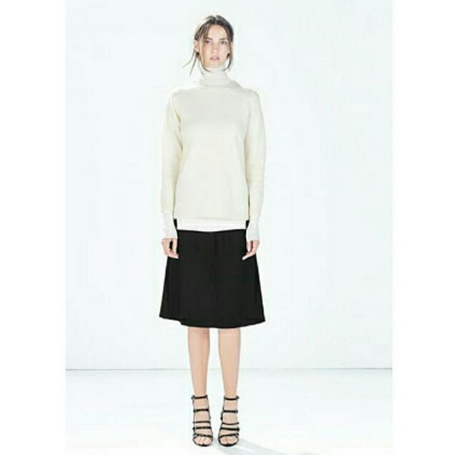 Zara Woman Black Knee Length Skirt