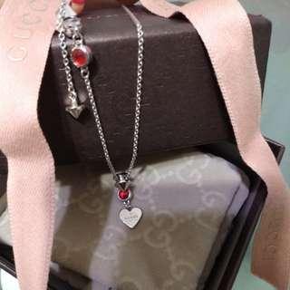 名牌 Gucci 纯銀红水晶 設計型格特別頸鏈不會與人撞款,😍😍