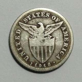 """1918 Twenty Centavos """"US Philippines"""" (70% Silver)"""