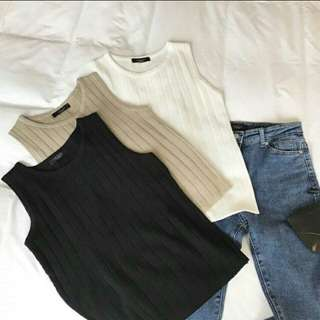 Instock / Basic Knitted Sleeveless Top in Black and White