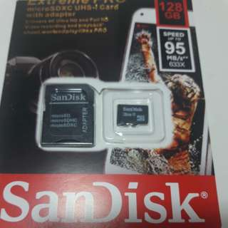 Sandisk Micro SD Card 128 gb with adapter
