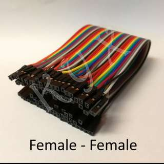 Female to Female Jumper Wires 40 Single Pins 20cm | Rainbow Colour