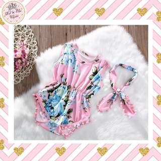 < Instock > Pink Floral Baby Romper