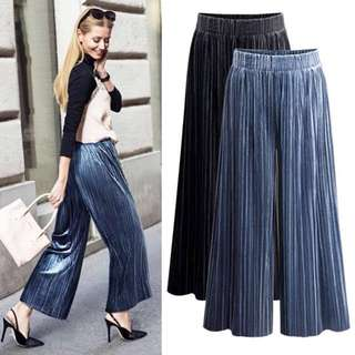 (M~6XL) High waist wide leg pants women nine pants velvet casual pants loose pants