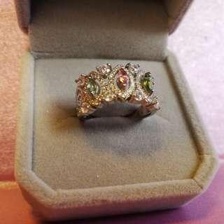 👑天然寳石藍粉綠碧璽純銀鍍18K白金戒指🌠開口圈