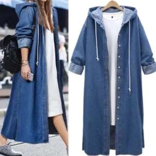 (L~5XL) European style cowboy long coat women loose hooded long-sleeved denim jacket