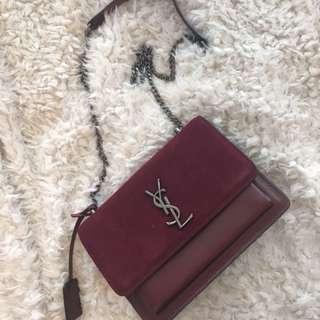 Ysl maroon leather sling bag