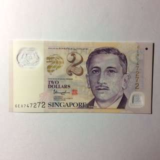 6EA747272 Singapore Portrait Series $2 note.