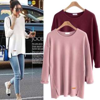 🧜🏻‍♀️(XL~5XL) European women's T-shirt long-sleeved crew neck shirt