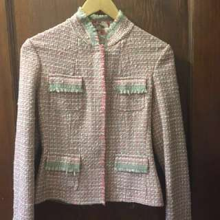 *SALE* TAHARI Pink Plaid /Floral Chanel Style Jacket Sz 4