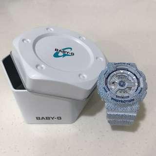Baby-g 時尚單寧休閒錶款-刷白牛仔