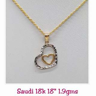 18K|750 Two-Tone Double Hearts Necklace Genuine Gold