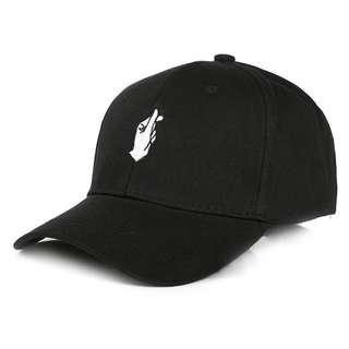 Korean heart cap black