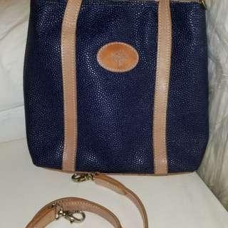 割:激罕古董真英國名牌Mulberry藍色皮可手提及斜肩袋(購自英國)