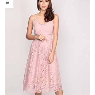 Thedesigncloset arthion lace shag dress in blush