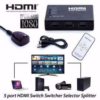 5 Port HDMI Switch Splitter iR Remote Selector Hub IR Remote USB Cable 1080p For HDTV PS4 Free Remote
