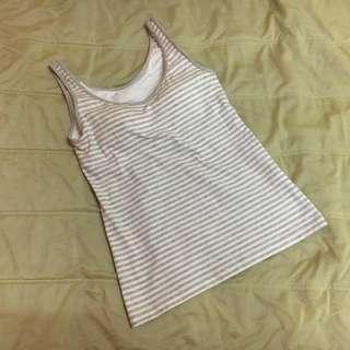 UNIQLO Sando Stripes Gray and White