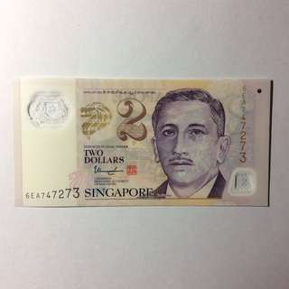 6EA747273 Singapore Portrait Series $2 note.
