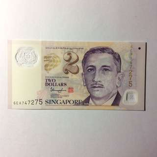 6EA747275 Singapore Portrait Series $2 note.