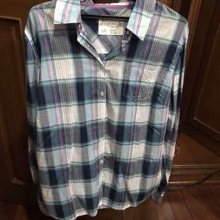 Aeropostale blue, green and white plaid long sleeved top
