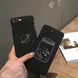 PO(300) Space Planet in a Bottle Jar Black iPhone Phone Case
