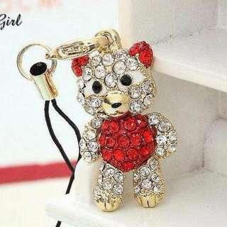 紅色金 奢華風 滿鉆 大眼熊熊 手機繩