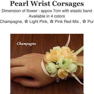 Wrist Corsages - Champagne mixed light green