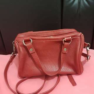 STRADIVARIUS Maroon Mini Bowling Bag Slingbag