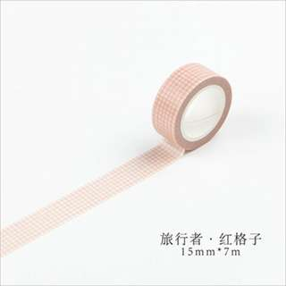 Washi Tape (Red Grid) (Ref No.: 120)