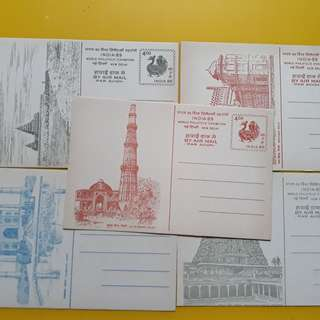 15 POST CARDS LOT - 1989 india world philatelic exhibition , New Delhi Pictorial - Taj Mahal , Temple , Qutb Minar  , Red Fort