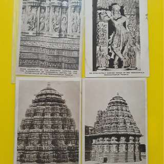 india Vintage Post Card - SOMNATHPUR TEMPLE - 4 Cards LOT