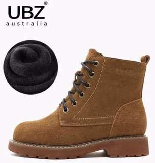 UBZ 2018新款加絨馬丁靴 女粗跟平底學生 保暖冬鞋短靴英倫女鞋子