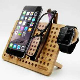 Custom Made RUSTIC Wooden IPhone & Accessories Stand *(Open Order) approximately 3days  Own Signature *Name ..Date.. EtcAdd Rm20