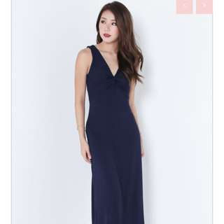 Navy maxi dress woman fashion