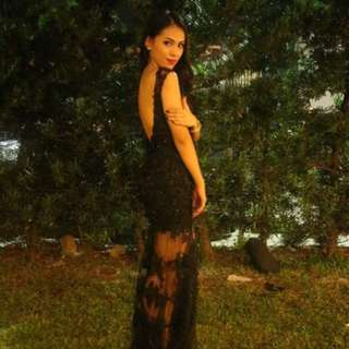 Black backless gown for rent