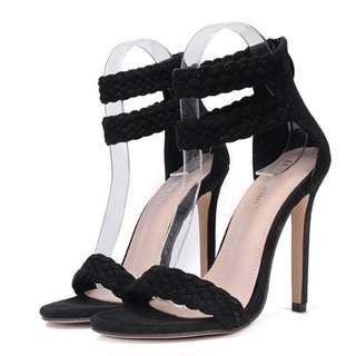 Solid Ankle Strap Stiletto Heel Sandals