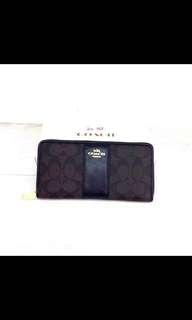 COACH Black/Brown Women's Signature Pvc & Leather Zip Around Wallet F52859