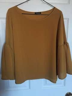 Boohoo mustard yellow frill-sleeved blouse