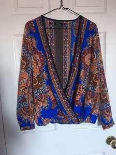Boohoo blue printed blouse