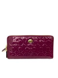 COACH Women's Wallet Signature Patent Debossed Fuschia F52859