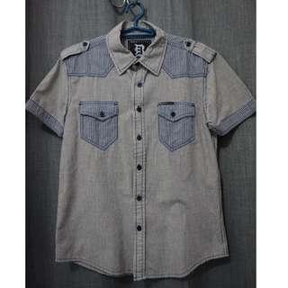 BNY Blue Checkered Short Sleeves Polo (M)