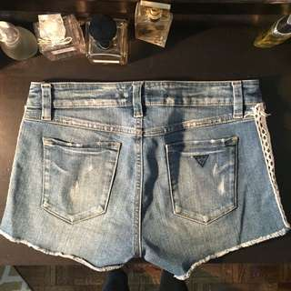 Original Guess denim jean shorts with lace side