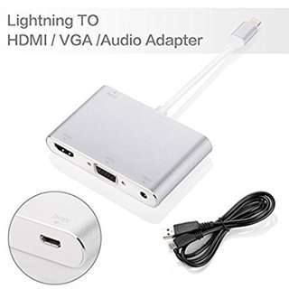 Lightning HDMI VGA Audio Adapter Converter iPhone iPad Apple