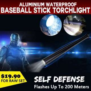 [Hot Deal] RAW SET | Aluminium Waterproof Baseball Stick Torchlight | Self Defense | Home Security | Security Patrols | Night Driver | 200 Merters | Torch light | LED | Flashlight | Outdoor