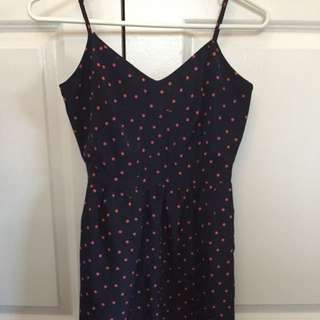 J crew dress with pockets - navy with red polka dots size 0