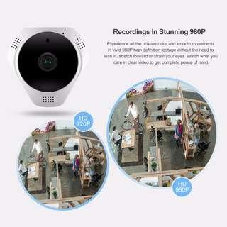 360-Degree Fisheye 960P HD Panoramic IP Camera Wireless Security Camera & Two-Way Audio Built-in MIC